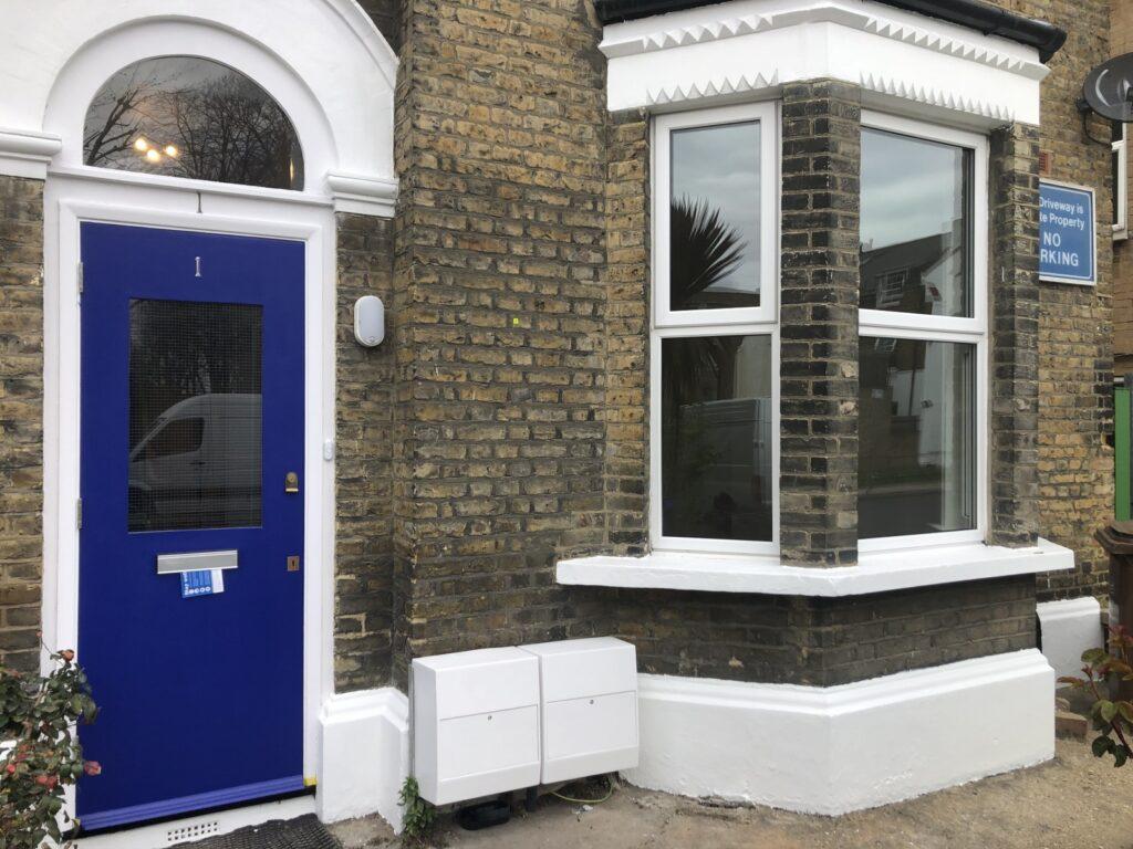 Main entrance into house, exterior door installation